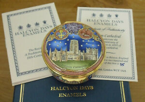 "Boxed Ltd Ed Halcyon Days Durham Cathedral 900th Anniversaty Enamel Box  <2 1/4"""