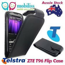 Black Synthetic PU Leather Flip Case Cover for Telstra T96