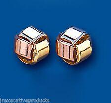 ANNEAU Boucles d'oreilles clou trois couleur or 9mm