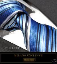 BLUE STRIPE SILK TIE & HANKY - ITALIAN DESIGNER Milano Exclusive
