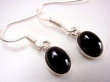 Small Oval Black Onyx 925 Sterling Silver Dangle Earrings