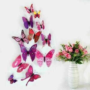 12PCS 3D Butterfly Wall Stickers Magnet Art Design Home Bedroom Decals DIY Decor