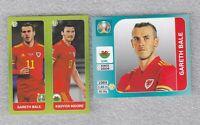 2 x sticker GARETH BALE Wales EURO 2020 UEFA Panini #112  #93 blue