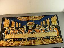 TAPESTRY LAST SUPPER JESUS APOSTLES RELIGIOUS WALL HANGING PRAYER RUG ITALY VTG
