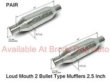 """SLP Bullet LOUD MOUTH 2 Mufflers Stainless 2.5"""" Inlet/Outlet 310013818 / 31063"""