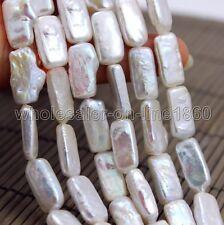 "freshwater pearl white biwa baroque Pearl 10-18mm Loose Beads 15"" Nature  AAA+"