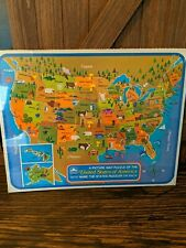 Vintage 1968 United States USA Map Frame Tray Puzzle GOLDEN 4560-11 - New