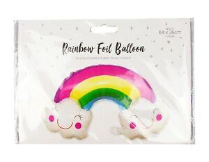 3D Rainbow & Happy Clouds Full Foil Birthday Party Girls Balloon *FREEPOST*
