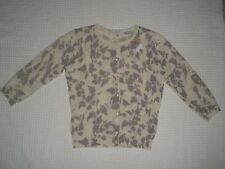 New AUTUMN CASHMERE Small 100% CASHMERE Ivory & Gray Cardigan 3/4 Sleeve Sweater