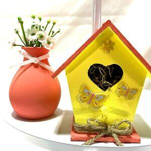 Mini Flower Vase and Birdhouse Tiered Tray Decor Peach Pink Yellow Handmade