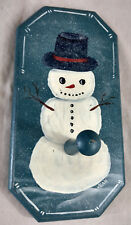 Snowman Winter Christmas Xmax Wood Hand Painted Coat Hat Rack Folk Art VTG