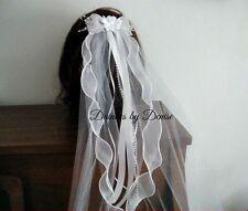 """First Communion  Veil,WhitevSheer Bow w/satin flower center, 20"""" Veil , New"""