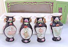 Floral vases Vintage Shantou Small Chinese decorative porcelain set of 4 in box