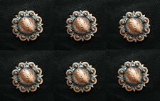 """Set of 6 WESTERN HEADSTALL SADDLE COPPER BERRY CONCHOS 1-1/4"""" screw back"""