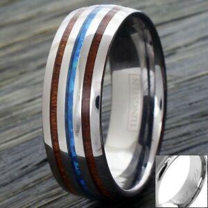 6/8mm Tungsten Koa Wood & Blue Opal Wedding Band Ring-Engraving Avail.