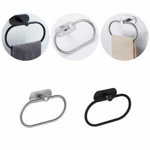 Stainless Steel Towel Ring Rack Holder Self-adhesive Round Wall Mounted Bathroom