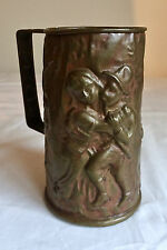 Repousse Copper Hand Hammered Mug Brass Bottom Antique 03409