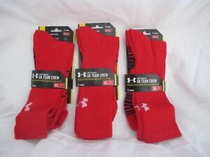 UNDER ARMOUR Unisex UA Team Crew Socks, 3 pack | RED | New in Box