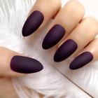 STILETTO MATTE *PLUM* Dark Purple Full Cover 24 Nail Tips + Glue!