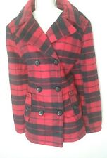 New York and company red/black plaid coat- size large