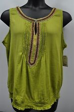 """St. John's Bay Woman Top Blouse """"Sour Lime"""" with Wood Bead Embellishment Sheer"""