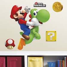 SUPER MARIO and YOSHI Giant WALL STICKERS MURAL NeW Video Game Decals Decor