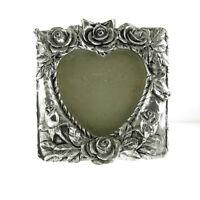 """Vintage Metal Silver Rose Floral Heart Photo Picture Display Frame Desktop  5"""""""