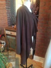 Gold Case Brown Wool Cashmere Blend & Suede Drape Front Cardigan Italy Sz 48