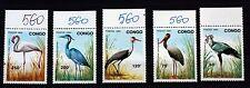 Timbres CONGO OISEAUX ECHASSIERS   SERIE COMPLETE MNH 1971 Scott 966/70  88M606