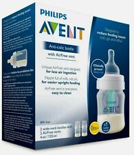 New listing Philips Avent 0m+ Anti-Colic Baby Bottle with AirFree Vent 4oz 2pk Scf400/24 New
