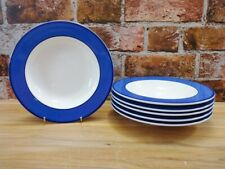 More details for pagnossin blue wide rimmed soup / pasta bowls x 6