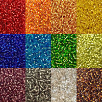 50g glass seed beads - Silver-Lined, size 11/0 (approx 2mm) - choice of colours