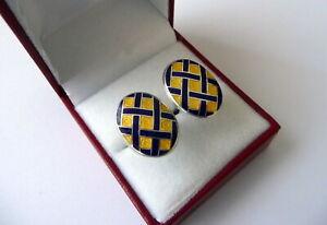 Vintage Art Deco Inspired Penhaligon's Silver Blue & Yellow Enamel Cufflinks