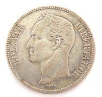 .1935 VENEZUELA 5 BOLIVARES SILVER COIN.