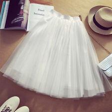 Women Princess Ballet Tulle Pleated Tutu Skirt Wedding Prom Bouffant Dress