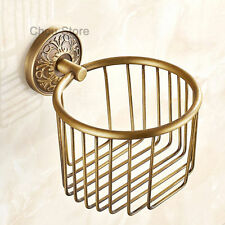 Toilet Paper Roll Holder Rack Carved Pattern Brass Bathroom Hand Tissue Basket