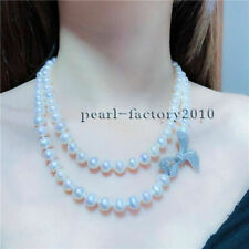 Natural White Pearl Necklace silver Aaaa 8-9 Mm South Sea
