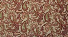 DURALEE LUCY MULTI D4064 CORAL RED PAISLEY MULTIUSE LINEN FABRIC BY THE YARD