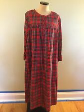 Charter Club S Warm Cotton Flannel Nightgown Red Plaid Long Sleeve Full Length