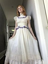 30's Vintage Sheer White Voile Lace Party Dress Purple Ribbon small