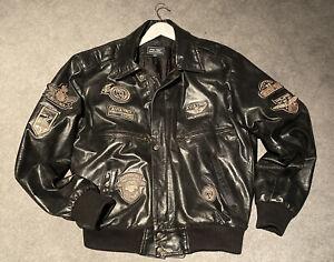 Aviatrix Men's Black Real Leather Badges Pilot Flight Bomber Jacket Size XXL
