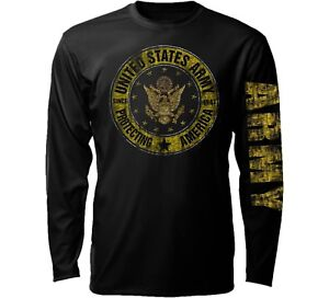 Military US ARMY Protecting America Distress Black Long Sleeve Men's T Shirt