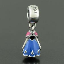 Authentic Pandora S925 charm Disney Anna's Dress Dangle Charm 791591ENMX