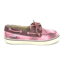 Sperry Bahama Rose Boat Shoes Womens Size 8 Cordovan Sequins Snow Faux Fur Lined