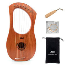 More details for aklot lyre harp 7 string mahogany body bone nut with tuning wrench and gig bag