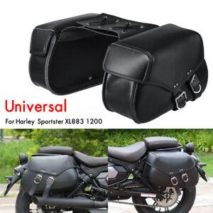 Universal Black Motorcycle Saddlebags Pannier PU Leather Pouch Bag Saddle Bag