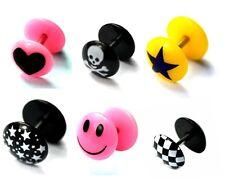 Bright Plastic UV Fake Ear Plugs Image Piercings Expander Stretchers Cheater 8mm