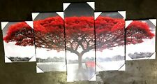 Premium Quality Canvas Printed Wall Art Poster 5 Pieces Red Tree w/ Wooden Frame