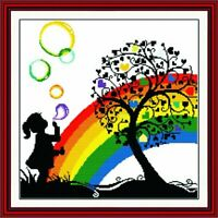 Counted Cross Stitch Little Girl Playing With Colorful Bubbles Under The Heart