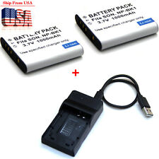 3.7V Battery / Charger For NP-BK1 Sony Cyber-Shot DSC-W180 DSC-W190 DSC-W370 USA